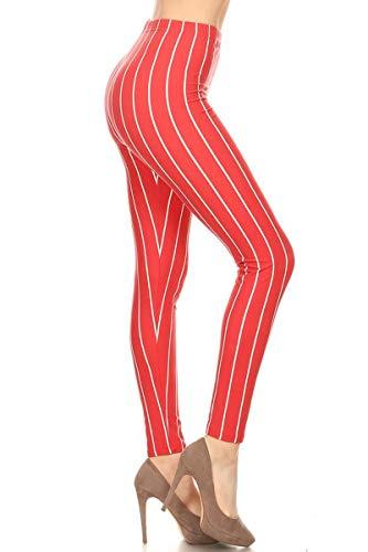 (S572-OS Apricot Stripes Print Fashion Leggings)
