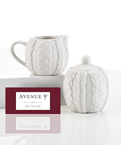 Avenue 9 White Cable Knit Mini Cream & Sugar Set by Avenue 9