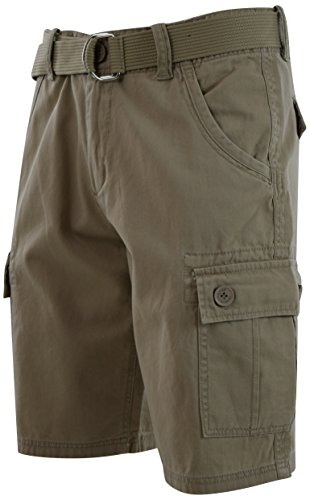 Adjustable Waist Cargo Shorts - ChoiceApparel® Mens Cargo Shorts with Belt (36, 772-KHAKI)