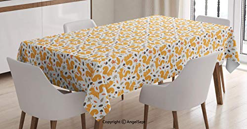 AngelTablecloth 100% Waterproof Table Cloth,Squirrel Pattern with Mushroom and Acorns Fall Season Maple Leaves,Dining Room Kitchen Rectangular Table Cover,Orange Pale Orange Taupe,6084 inch ()