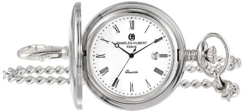 Charles-Hubert, Paris Stainless Steel Quartz Pocket Watch