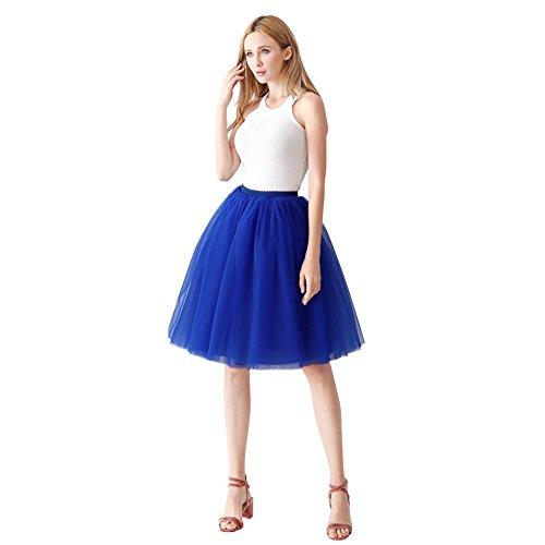 ShowYeu Femmes A-Ligne 60 CM Tutu Tulle Jupon Robe de Fte Mi-Mollet Vintage Demoiselles Party Dress Balle De Bal Bleu Royal
