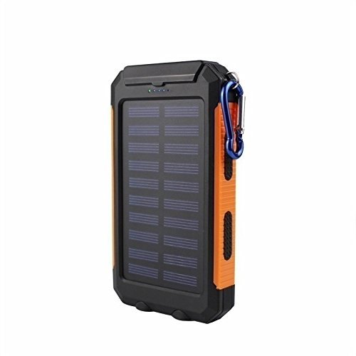 KRECOO Portable Power Banks 20000mAh External Solar Power Bank Dual USB with 2 Flashlight Waterproof Powerbank for iPhone,iPad & Samsung Galaxy & More