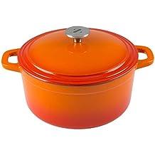 Zelancio Cookware 6 Quart Cast Iron Enamel Covered Dutch Oven Cooking Dish with Self-Basting Lid (Tangerine Orange)