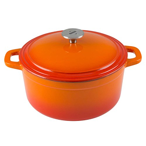Orange Casserole (Zelancio Cookware 6 Quart Cast Iron Enamel Covered Dutch Oven Cooking Dish with Self-Basting Lid (Tangerine Orange))
