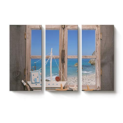 Rocking Giraffe 3 Panels Canvas Prints Wall Art Blue Sky and Ocean Outside Wooden Window Paintings Printed Pictures Modern Art Home Decor Stretched and Framed Ready to Hang for Living Room 12x24inch ()