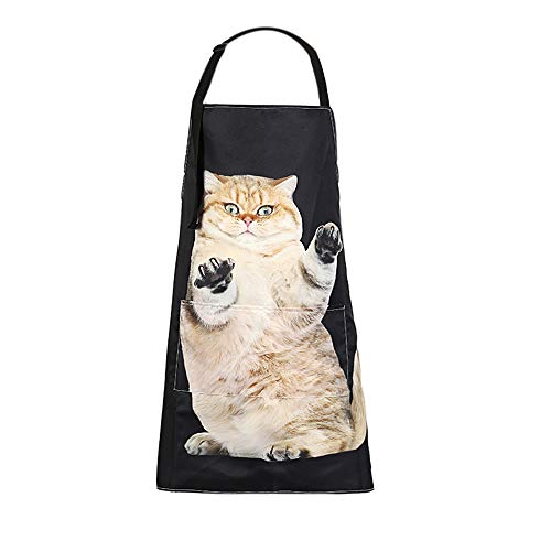 MissOwl Adjustable Bib Apron Extra Long Ties with Pockets Home Kitchen Cooking Baking Gardening Apron for Women Men Cat