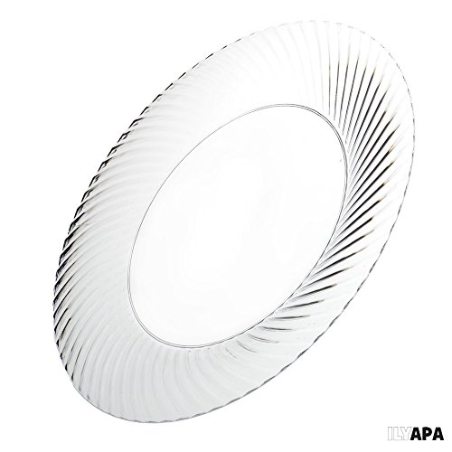 100 Premium Clear Plastic Plates for Party or Wedding - 6 Inch Fancy Disposable Plastics Plates by Ilyapa (Image #4)