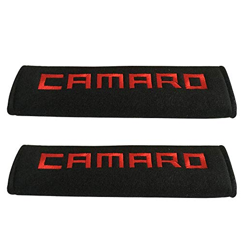 Comfortt 2pcs Red Camaro Stitching Car Seat Belt Shoulder Pads Fabric Cushion Fashion Interior Accessories Suitable Seat Belt Fit for Chevy Chevrolet Camaro Sports Car Coupe Convertible SS RS