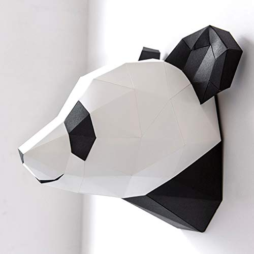 ZYWX DIY Handmade Panda Head Origami Wall Hanging 3D Three-Dimensional Paper Crafts, Suitable for Christmas Party Decoration