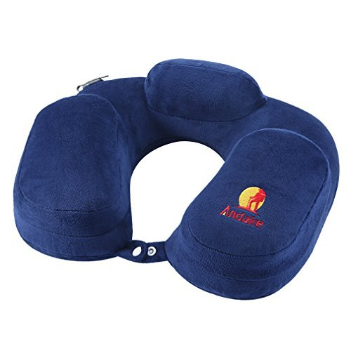 Push Fit Button Quick (Andake Foldable Neck Pillow, Quick Inflating Deflating Comfortable Portable with Detachable Pillowcase (Gray/Blue, Mouth Blowing/Push-Button Blowing) (Mouth Blowing Blue))