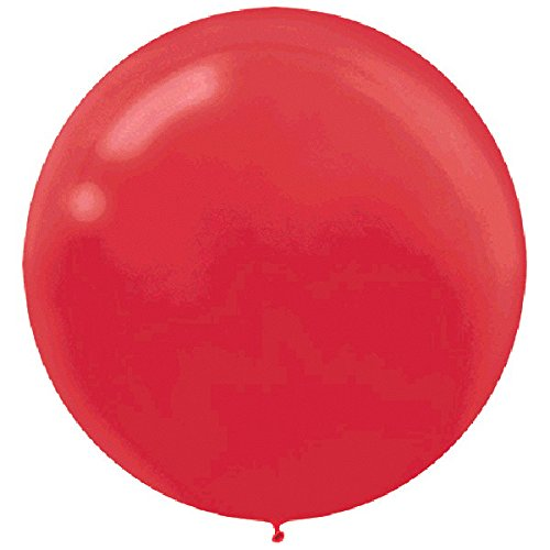 Amscan Perfect Round Latex Balloons Apple Red 24'' Pack 4 Others Party Supplies (16 Piece)