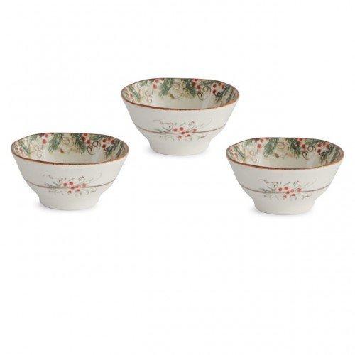 Arte Italica Natale Dipping Bowl Set, Cream