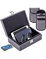Car Key Signal Blocker& 2 Dual-Layer Pouches Value Bundle, Extra Large 21 x 13.5 x 7 cm Faraday Box for Car Keys, Anti-Theft Faraday Cage for Car Security, Grey…