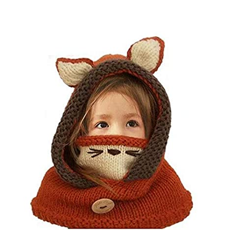 42a8cae2cd8c8 MiniGreen Hiver Bonnet Châle pour Enfants Fille Garçon 2 à 6 Ans