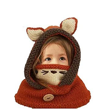 55f08bdf8de MiniGreen Winter Warm 3D Cute Fox Hat Scarf Shawls Mask Earflap Set Woolen Knitted  Crochet