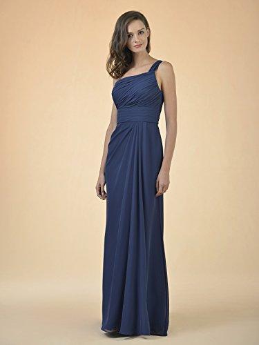 Alicepub Robe De Demoiselle D'honneur En Mousseline De Soie Asymétrique Longue Robe De Soirée Robe De Soirée De Mariage Bleu Royal