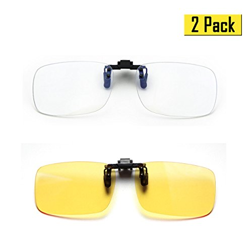 Cyxus (2 Pack) Blue Light Filter Clip-on Computer Reading Glasses, UV Blocking Anti Eye Strain Unisex Eyewear 1 Transparent Lens and 1 Yellow Lens Set