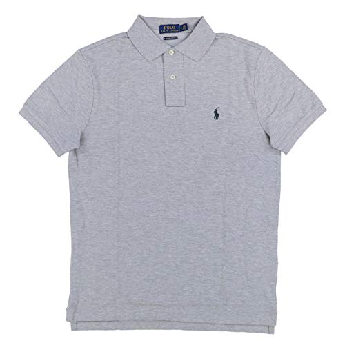 Polo Ralph Lauren Mens Custom Slim Fit Polo Shirt (Medium, Grey Heather) (Ralph Lauren Grün Polo)