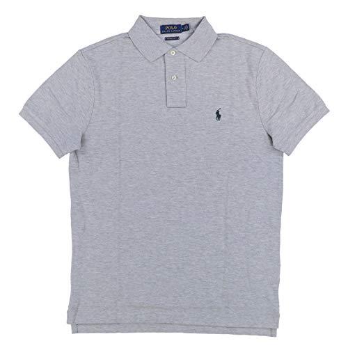 Polo Ralph Lauren Mens Custom Slim Fit Polo Shirt (Medium, Grey Heather) ()