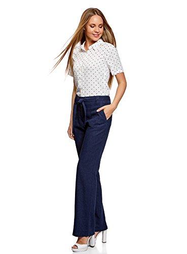 oodji Collection Mujer Pantalones Holgados de Viscosa y Lino Azul (7900N)