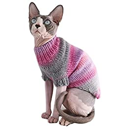 Kitipcoo Sphynx Cat Clothes Winter Warm Sweater Outfit, Fashion Round Collar Coat for Cats Pajamas for Cats and Small Dogs Apparel, Hairless cat Shirts Sweaters