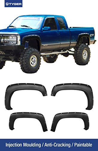 Tyger Auto TG-FF8C4088 For Chevy / GMC C/K Pickup/Blazer/Tahoe/Suburban/Yukon | Smooth Matte Black Paintable Pocket Bolt-Riveted Style Fender Flare Set, 4 Piece