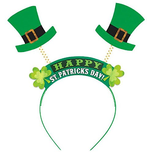 [Amscan St. Patrick's Day Felt & Foil Top Hat Head Bopper Costume (1 Piece), Green, 10 1/2