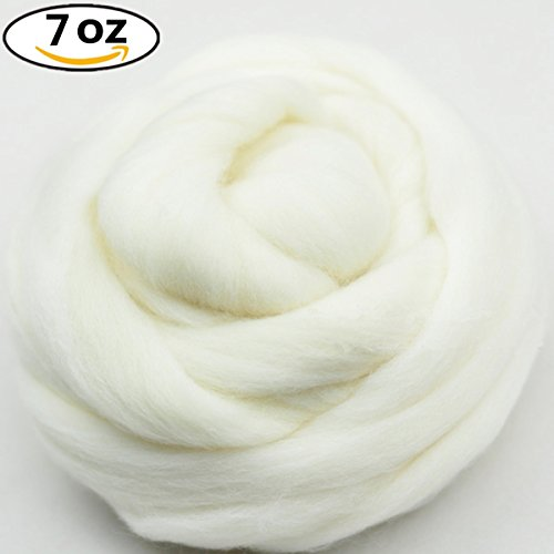 Soft Wool Spinning Roving Fiber (QICI 200g/7 oz Natural White Wool Roving Fiber Spin For Needle Felting Hand Spinning DIY)