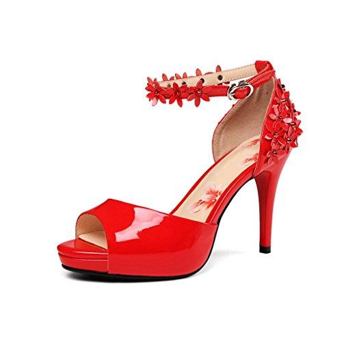 Sexy Schuhe Eleganz Hochzeit Open Rote Größe Toe Retro Bequeme 39 Farbe Heels High Sommer Frauen Stilettferse Sandalen Rot