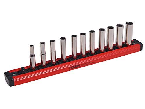 Torin Big Red Tool Organizer: Magnetic Locking Socket Rack, 1/4