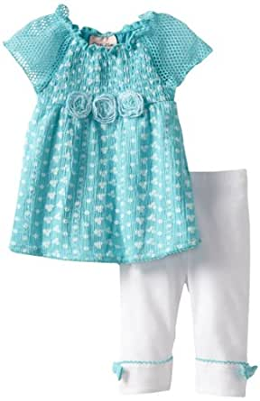 Little Lass Baby Girls' 2 Piece Capri Set with Roses, Blue, 24 Months