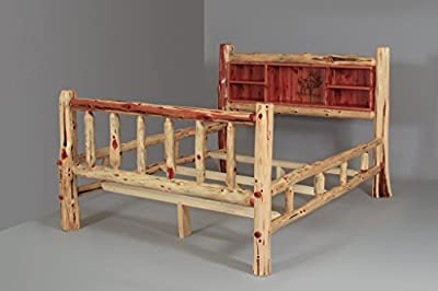 Rustic Red Cedar Log Wood Burn Bookshelf bed with Double Side Rails (Elk) - Multiple Sizes