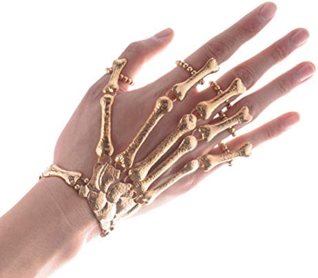 Golden Exaggerated Skull Bracelet Ghost Claw Linking Halloween Ornament