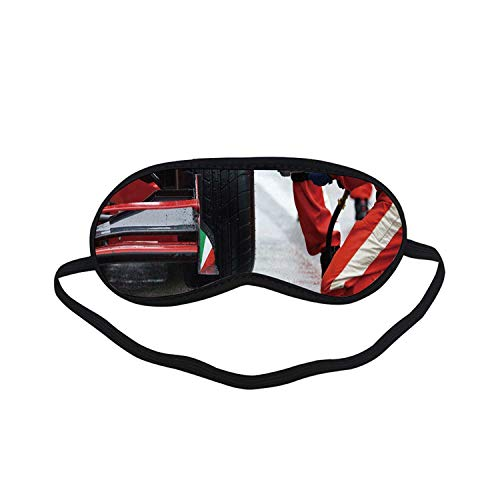 Man Cave Decor Fashion Black Printed Sleep Mask,Professional Racing Team at Work Pit Stop Racecar Fast Tyre Changing Image for Bedroom,7.1