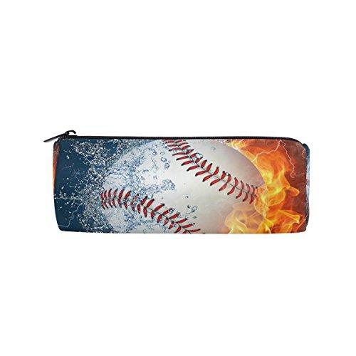KUWT Pencil Bag Sport Baseball Fire Water, Pencil Case Pen Zipper Bag Pouch Holder Makeup Brush Bag for School Work Office