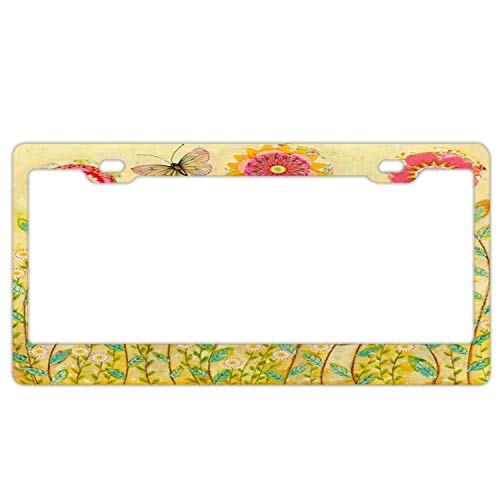 YEX Abstract Folk Art Collage Flower Painting License Plate Frame Car Licence Plate Covers Auto Tag Holder 6
