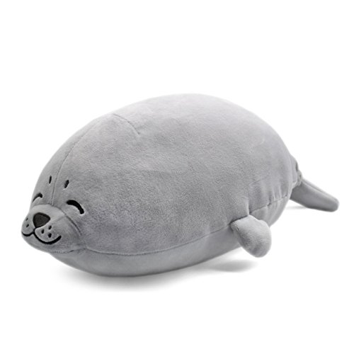 sunyou Plush Cute Seal Pillow - Stuffed Cotton Soft Animal Toy Grey 27.5 inch/70cm (Large) Gift for Kids/Family/Friends ()