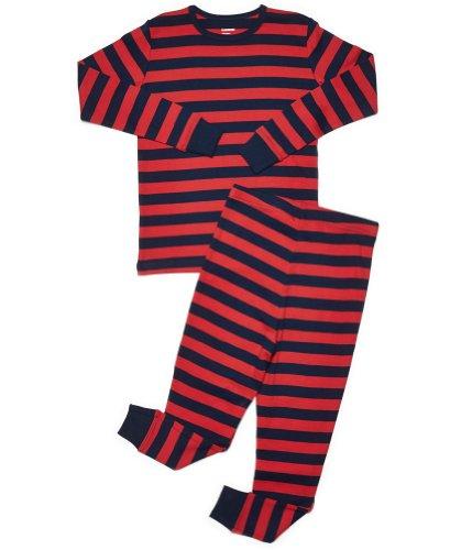 Size 6M-14Y Leveret Boys Blue /& Navy Striped Pajama Set 100/% Cotton