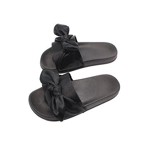 Sandales Chaussons Rose Pantoufles Pantoufles Sandales Sandales Silk Chaussures D Bow xwwA6gS