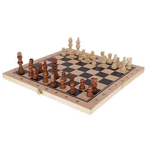 Baoblaze ボードゲーム おもちゃ 木製 駒 伝統的 チェッカー バックギャモン 知育 3種類遊び方 ギフト  の商品画像