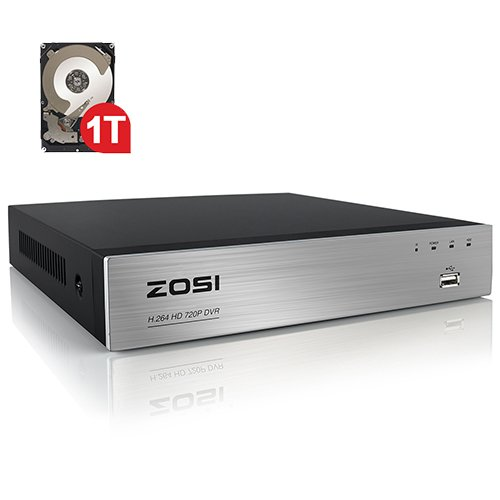 ZOSI 8CH 960H Standalone H.264 Recording Network CCTV Security Surveillance DVR Video Recorder System 1TB HDD (Full 960H, 1080P HDMI/VGA/BNC Output, QR Code Scan Quick Access, Smartphone& PC Easy Remote Access)
