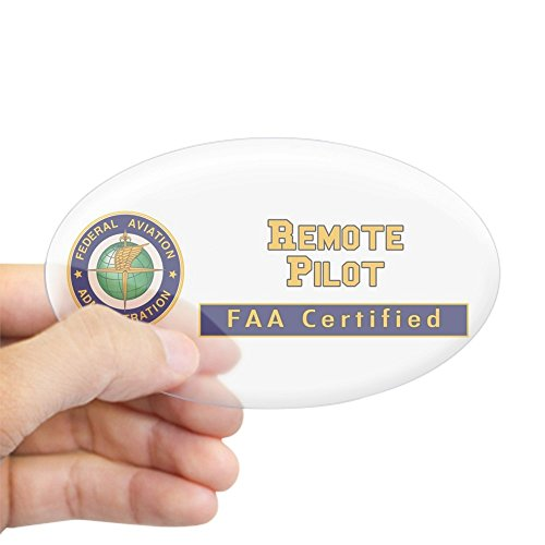 CafePress FAA Certified Remote Pilot Sticker Oval Bumper Sticker, Euro Oval Car Decal
