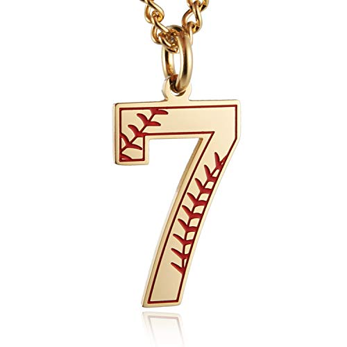HZMAN Baseball Initial Pendant Necklace Inspiration Baseball Jersey Number 0-9 Charms Stainless Steel Necklace (7 - Gold)