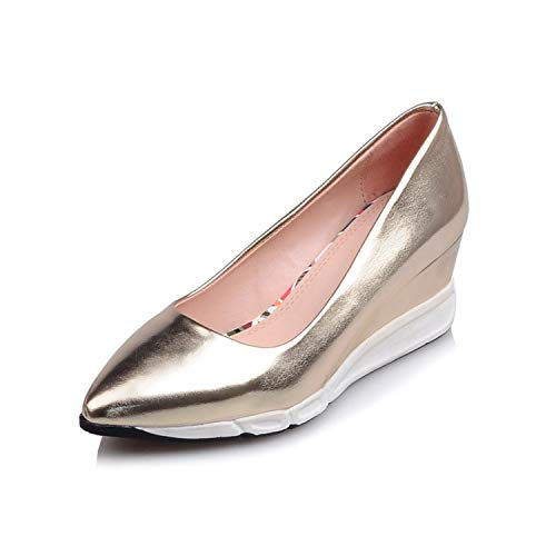 Msanlixian Wedges Shoes Women Heels 2018 Spring High Heels Shoes 5.5 cm Platform Women Pumps Gold Silver Pink Gold 3
