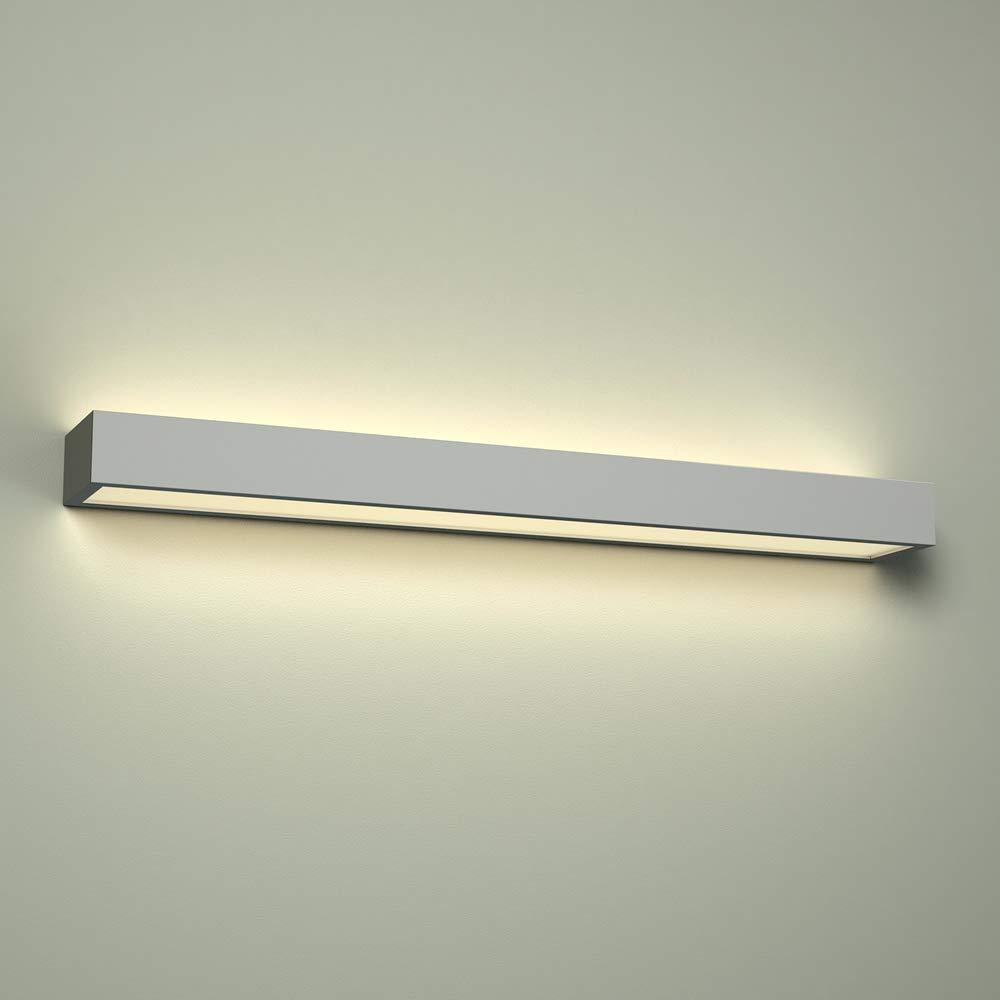 Milano Eamont Apliqué LED 18W Rectangular con Foco Bidireccional para Baño – IP44 Impermeable – Blanco Cálido (3000K) – Sobre Espejo