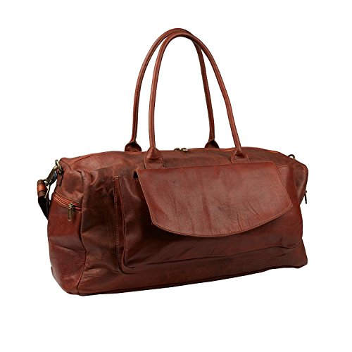 Leather Travel Duffel Bag Overnight Weekend Luggage Carry On Airplane Underseat