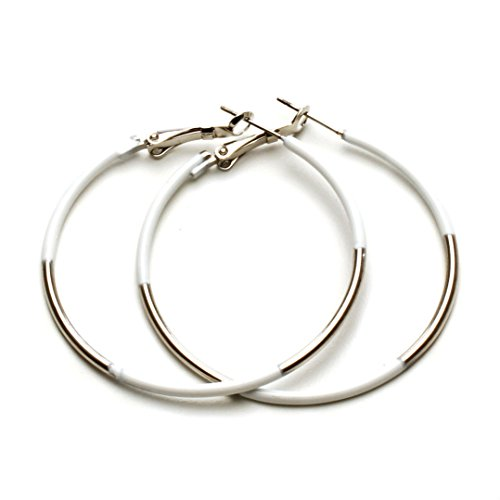 Womens Jewelry Hoop Earrings Silver Tone with Hand Painted White Detail