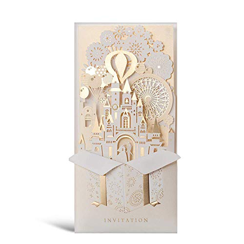 (WISHMADE Laser Cut 3D Wedding Invitations Cards with Gold Gilding Bride and Groom in Castle Invitation for Engagement Anniversary Marriage Mr Mrs Invites (Pack of 50pcs))