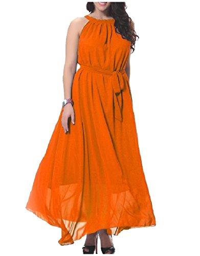 Length Coolred Full Dress Plus Hem Chiffon Big Women Orange Sleeveless Size 860qrx8OZw